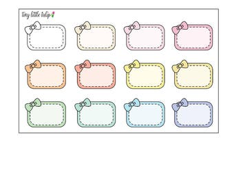 Planner Stickers Pastel Bow Half Boxes