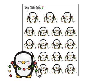 Planner Stickers Christmas Penguin w/ lights