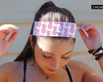 Pineapple Headband, Yoga Headband, Fitness Headband, Custom Headband, Running Headband, Extra Wide Band, Indie Headband, Bohemian Headband