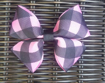 Pink and Black Hair Bow
