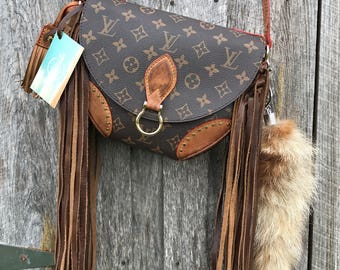 Louis Vuitton St Cloud revamped with genuine leather fringe!!  One of a kind!!!  LV, fringed, upscaled, Louie, handbag, crossbody!