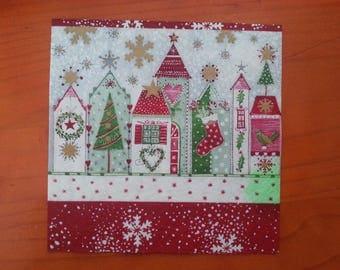 Christmas themed paper napkin