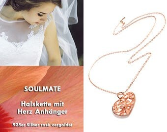 SOUL MATE - 925 Heart Necklace Rosé gold plated