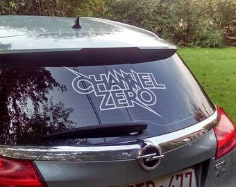 channel zero car sticker  white - black - silver