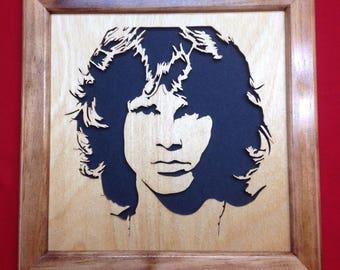 Jim Morrison Wooden Portrait