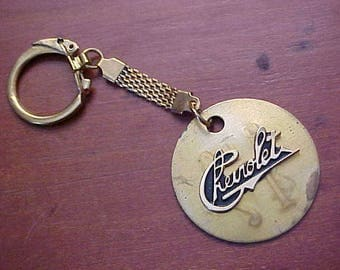 Old School Gold Louis Chevrolet Script HTG Brass Tool Tag Key Chain Historical Car Swag Custom Crafted From Vintage Findings 'One-Off""
