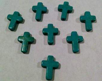 Cross Beads Turquoise Howlite - 15mm