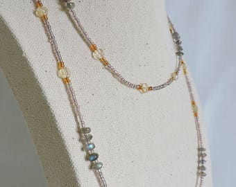 long gemstone necklace, labradorite long necklace, citrine and labradorite necklace