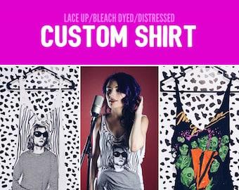 Custom // Shirt - Old Shirts, Band Shirts, Custom Shirt, Shredded Band Shirt, Bleached, Cut, Lace Up