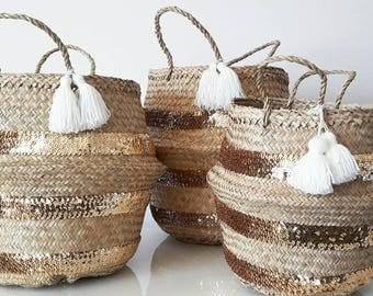 Basket gold sequins