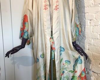 1920s Japanese Printed Silk Pongee Kimono Robe - Poppies