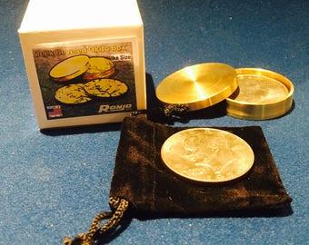 Sleek Beveled Okito Box Eisenhower Dollar, 2 Coin by Ronjo Exclusive Magic