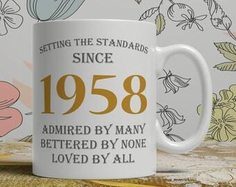 Setting standards, 60th Birthday mug, 60th birthday idea, born 1958 birthday, 60th birthday gift, 60 years old, Happy Birthday, EB 1958 Grey