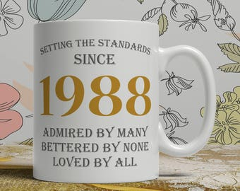 Setting standards, 30th Birthday mug, 30th birthday idea, born 1988 birthday, 30th birthday gift, 30 years old, Happy Birthday, EB 1988 Grey