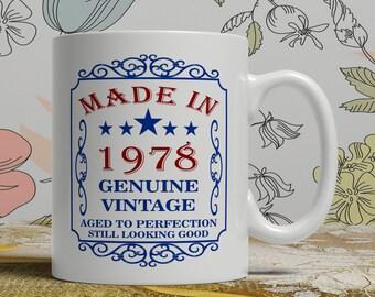 40th Birthday mug for dad, 40th birthday mug for mom, 40th birthday mug her, born 1978 gift, funny wife mug, best friend mug, EB 1978 Blue