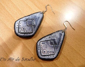 "Earrings ""Black used"", polymer clay."
