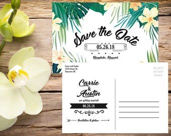 Save the Date Postcard template, Tropical Wedding, Destination Wedding, Save the Date Template, Save the Date Card, Save-the-date