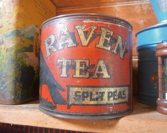 Antique Raven Tea Tin - Christchurch, New Zealand -  c1920s - Royds Bros & Kirk Ltd