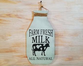 Country Farm sign, Farm fresh, Milk jug, rustic, Country sign, wall decor, Farm decor, country decor, shabby chic