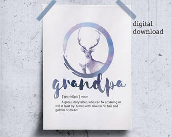 Grandfather print download grandpa wall art, grandfather gift, gifts for grandpa birthday, definition printable grandpa gift, gifts for papa