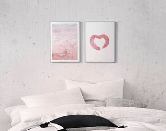 Blush Pink 2 Prints Download, 2 Piece Wall Art, Above Bed Poster, Abstract Blush Art, Blush Heart Print, Brush Stroke, Ombre Printables