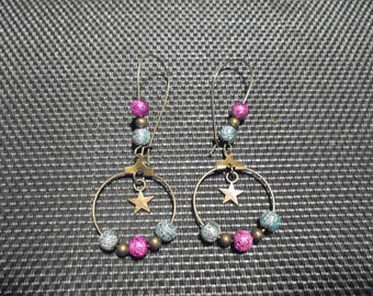 "Earrings ""Créole"" beads and bronze"