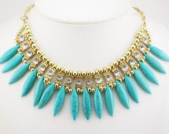 """Chico's Bead & Cabochon  Bib  Necklace  15"""" 2"""" ext.   Turquoise"""