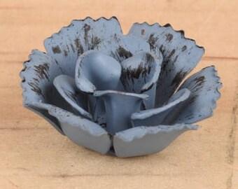"""2.25"""" Blue metal flower, blue flower, metal flower, craft flower, blue rose, red rose, pink rose, red flower, pink flower"""