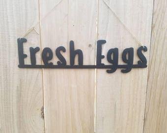 Fresh Eggs metal sign