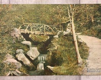 vintage postcard, vintage cards, vintage ilkley postcard, ilkley moor postcard, heber's ghyll postcard,