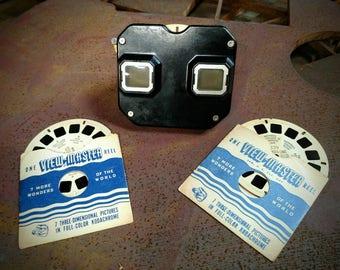 Vintage 1950s Black Bakelite Sawyer View Master with 3 reels  // stereoviews // sterographs // 3d views