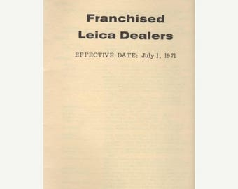 Summer Sale Franchised LEICA Dealers July 1, 1971 Brochure