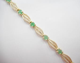 "Emerald Bracelet, Gold Bracelet, Emerald Bracelets, Vintage Bracelet, Nissko 10k Yellow Gold Round Emerald Link Bracelet 7"" #2568"