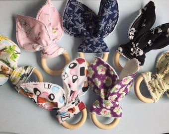 Teething/teether ring - Bunny Ear - Natural wood - baby shower gift