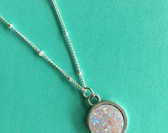 Pink Druzy Crystal Necklace