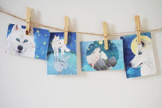 Kerstkaarten met wolven van LottedrouenDesign