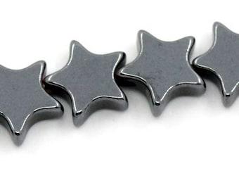 75 star, Star, beads, hematite, gemstone, 25570