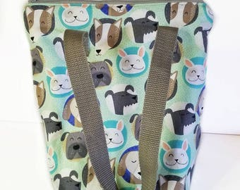 Dog lunch bag, insulated lunch bag, adult lunch bag, waterproof interior, lunch tote, reusable lunch bag, kids lunch bag