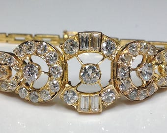 Estate Antique Art Deco 22K Old European cut 7.00 CTW Diamond Bracelet 19 Grams