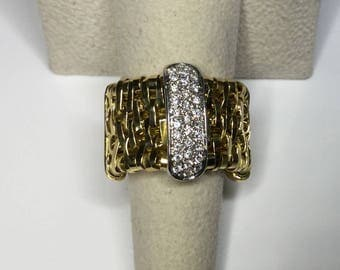 Estate 14k Yellow Gold Orlandini Italian Basketweave Movable Diamond Ring Size 7
