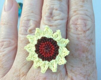 Crochet Ring Sunflower - Yellow