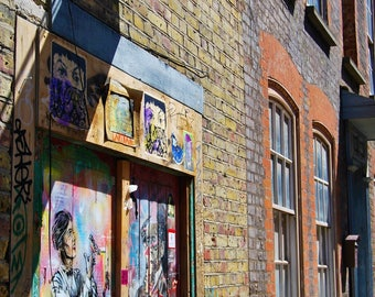 Street sign and graffiti, Spitalfields, London, photo print, terrace houses, Townscape Photography, Picturesque print, England,