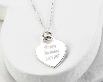 Sterling Silver Large Engravable Heart Necklace