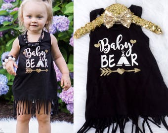 Baby Girl's Baby Bear Fringe Dress, Baby Bear Outfit, Baby Bear Shirt, Mama Bear Baby Bear, Gold and Black, Toddler Baby Bear