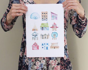 A4 - Wherever I'm with you - Homes and Houses watercolour print