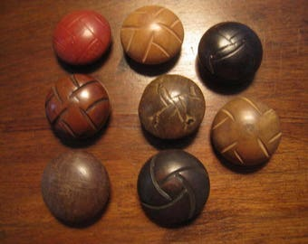 8 buttons vintage wood, vintage domed 25 mm wooden button
