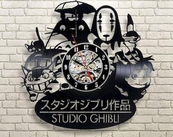 Spirited away, Vinyl record wall clock, Studio ghibli, Studio ghibli decal, Studio ghibli print, Hayao Miyazaki, No face Spirited away