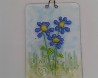 Flower plaque, fused glass