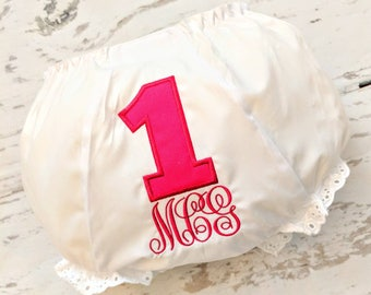 Birthday Bloomers, 1st Birthday Bloomers, First Birthday Bloomers, Baby Girl Bloomers, Pink Baby Bloomers, Toddler Bloomers, Ruffle Bloomers