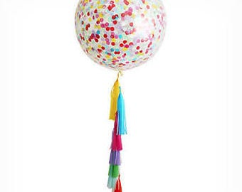 Giant Clear Multi Coloured Confetti Balloons and Tassels, Confetti Balloon,